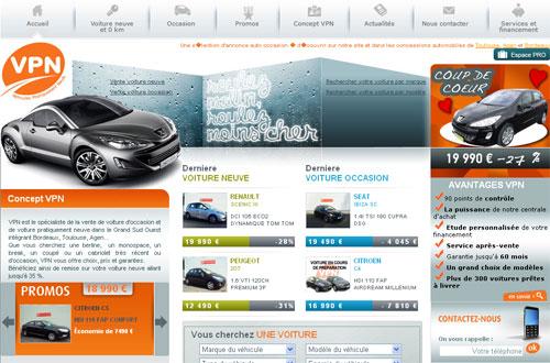 Vue du site du concessionnaire auto VPN (Toulouse, Agen, Bordeaux)