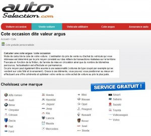 Screenshot de la cote argus gratuite auto selection