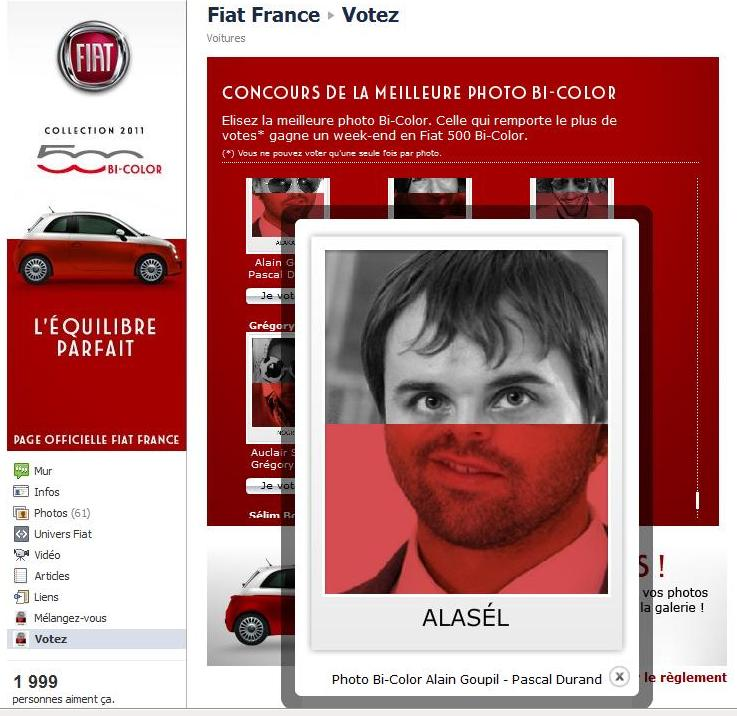 application facebook concours fiat 500