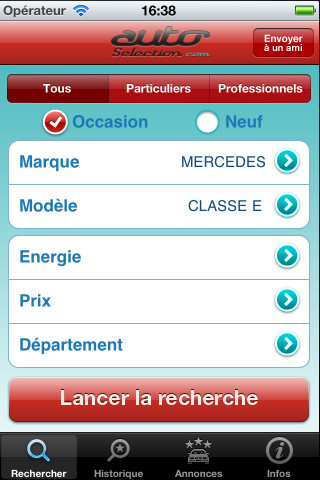 application iphone auto selection voiture occasion