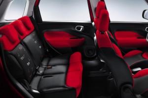 Place arrière tissu rouge Fiat 500 l