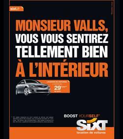 L'affiche publicitaire de sixt a manuel valls