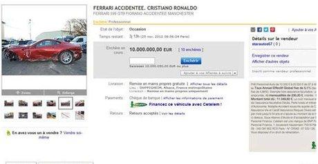 Annonce sur Ebay de la Ferrari de Ronaldo