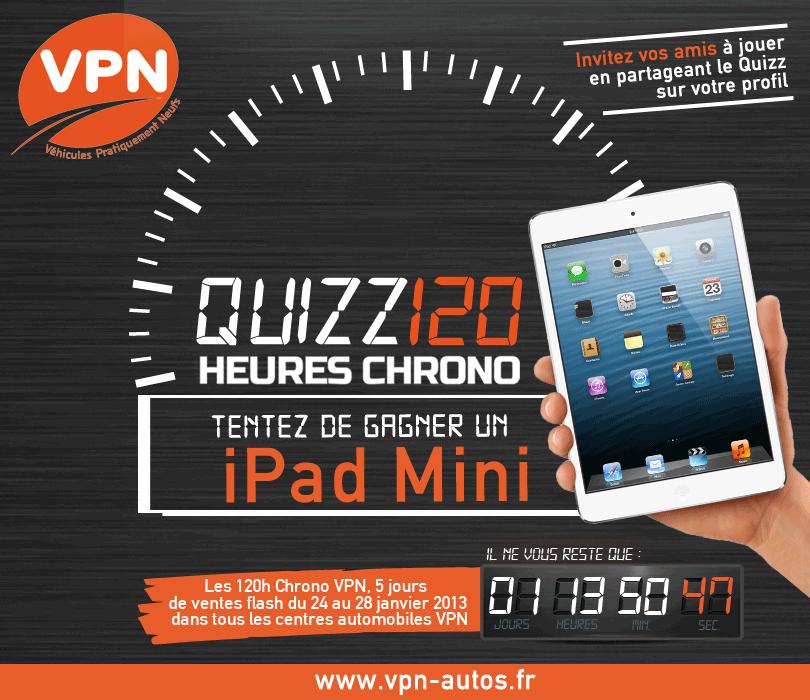 quizz 120h Chrono VPN pour gagner un ipad mini