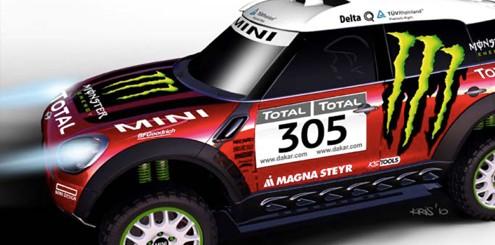 Photo de la Mini qui sera en cours au Rallye Raid Dakar 2011