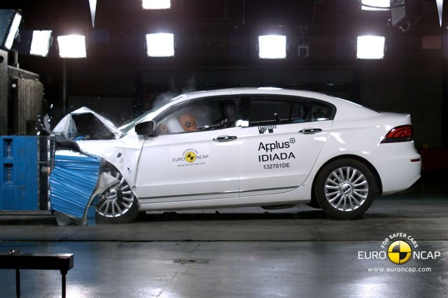 La Qoros 3 lors du crash-test EuroNCAP