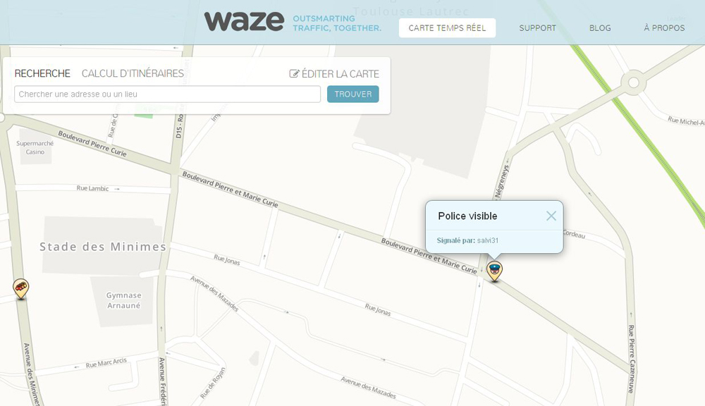 waze l 39 application pour smartphone qui cr e la pol mique. Black Bedroom Furniture Sets. Home Design Ideas