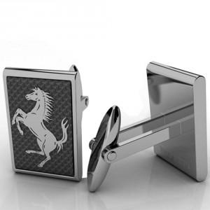 Boutons de manchette Cheval Cabré en fibre de carbone Ferrari 79 euros