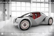 La Strati, véhicule de fabrication digitale directe blanc