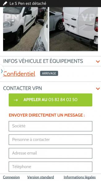 Fiche véhicule en vente B2B