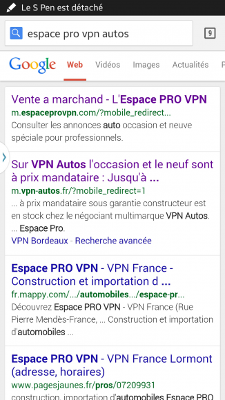 Google propose directement la version mobile du site pro de VPN Autos
