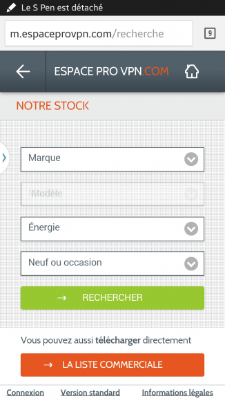 Le moteur de recherche du site mobile de vente à marchand de VPN Autos