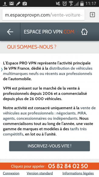 Présentation de l'espace pro de VPN Autos