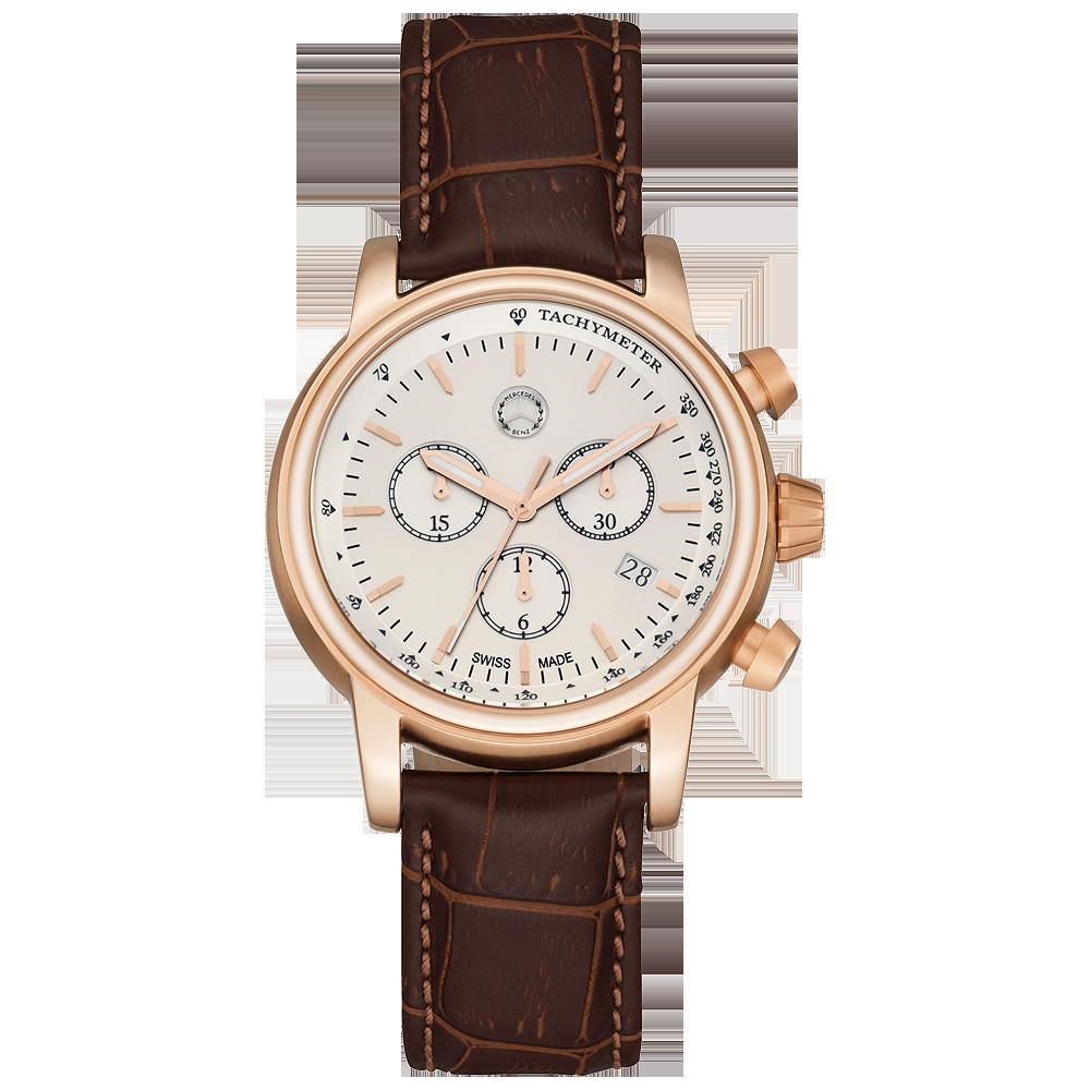 Montre Vintage Homme Bracelet Cuir Marron Mercedes Pour St