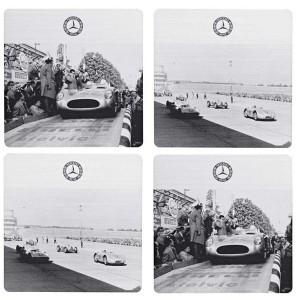 Sous verre Mercedes photo ancienne automobile pour une St Valentin vintage