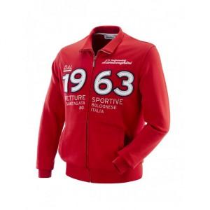 sweatshirt rouge à zip homme Lamborghini vintage